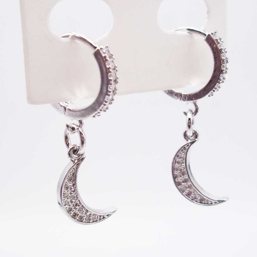 Charms in Ottone Con Strass | Charms Luna con strass 14 mm pacco 1 pz - Luna22