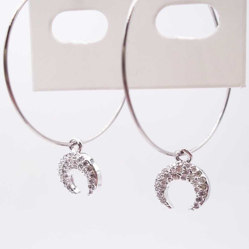 Charms in Ottone Con Strass | Charms Luna rodio con strass bianchi 10 mm pacco 1 pz - lu10c
