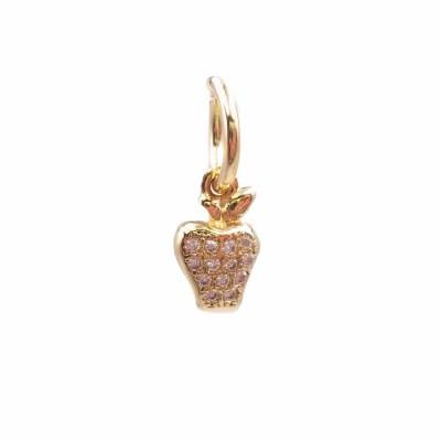 Charms mela in ottone dorato con strass 10.2x6.5 mm 1 pz