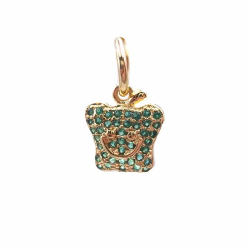 Charms in Ottone Con Strass | Charms mela in ottone dorato con strass verdi 12.4x10.2 mm 1 pz - hj14