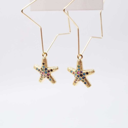 Charms in Ottone Con Strass | Charms stella marina oro con strass colorati 14 mm pacco 1 pz - ste39p