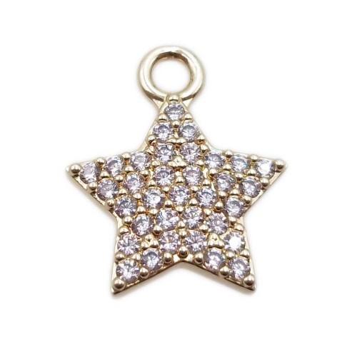 Charms in Ottone Con Strass | Charms stella ottone oro con strass 14.3 mm 1 pezzo - st5xx11