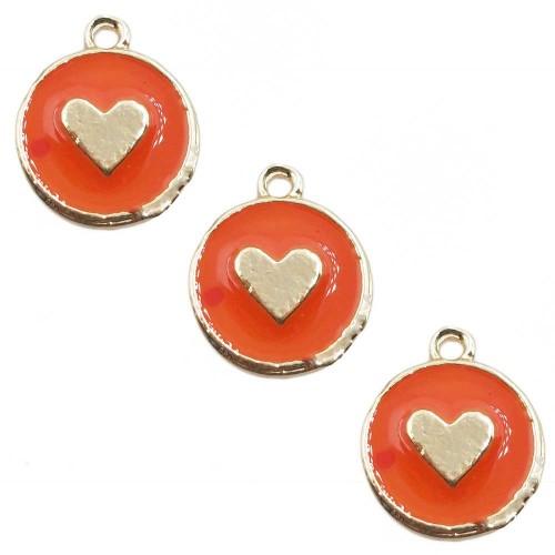 Charms Smaltati | Charms smaltato arancio tondo cuore 12 mm 1 pz - tt55665