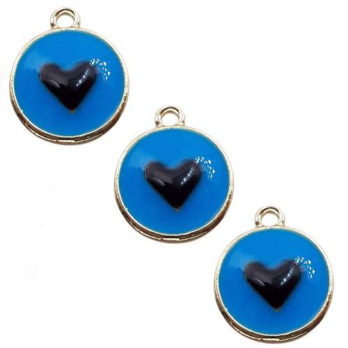 Charms Smaltati | Charms smaltato blu tondo cuore 12 mm 1 pz - tt55gtz2