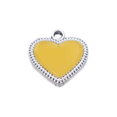 Charms smaltato giallo scocca argento 19.5x17.6 mm 1 pz