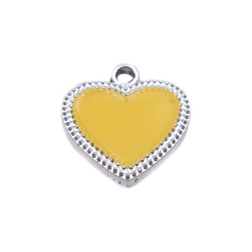 Charms Smaltati | Charms smaltato giallo scocca argento 19.5x17.6 mm 1 pz - ccd3