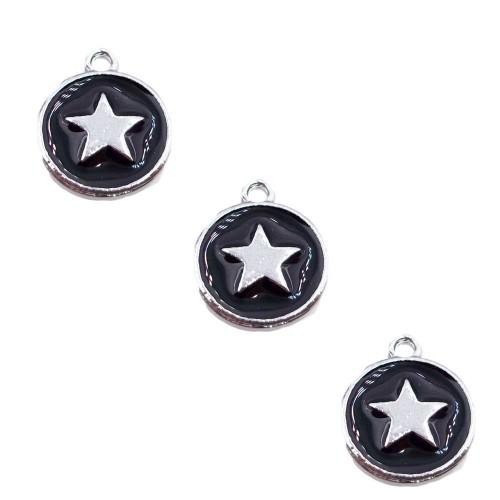 Charms Smaltati   Charms smaltato nero stella argento color 12 mm 1 pz - jju644s