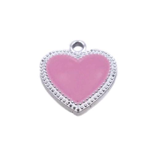 Charms Smaltati | Charms smaltato rosa scocca argento 19.5x17.6 mm 1 pz - ccd4