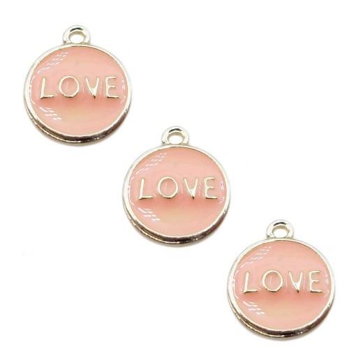 Charms Smaltati | Charms smaltato rosa scritta love 12 mm 1 pz - qw911
