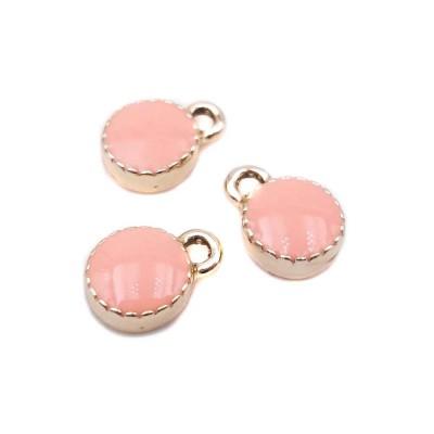 Charms smaltato tondo rosa pesca 7.3 mm 2 pz