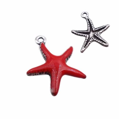 Charms Smaltati | Charms stella marina colore rosso smaltato 20.7 mm pacco 1 pz - zan5