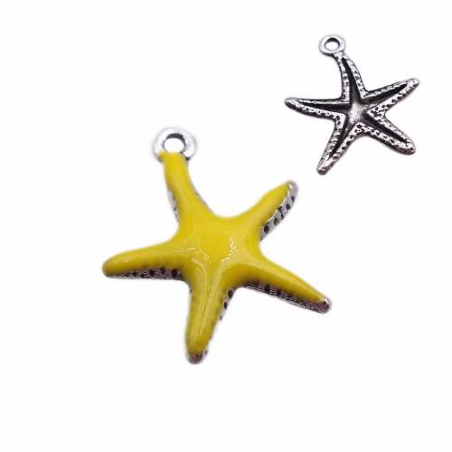 Charms Smaltati | Charms stella marina gialla smaltata 20.7 mm pacco 1 pz - zan4