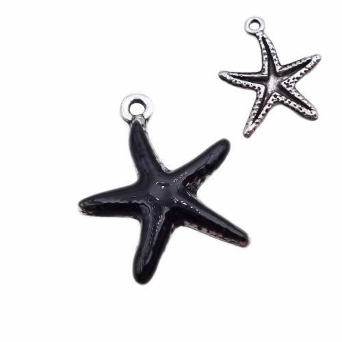 Charms Smaltati | Charms stella marina smaltata nera 20.7 mm pacco 1 pz - zan2