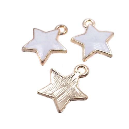 Charms Smaltati | Charms stella smaltate 12 mm bianche 2 pz - Stella1