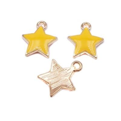Charms stella smaltate 12 mm giallo 2 pz