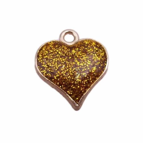 Charms Smaltati | Cuore smaltato oro 18.6 mm oro pacco da 1 pezzo - cuogor4