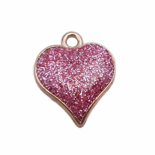 Charms Smaltati | Cuore smaltato rosa 18.6 mm oro pacco da 1 pezzo - cuog5311