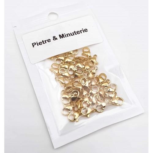 Componenti Acciaio Confezioni Ingrosso | Pacco ingrosso moschettoni acciaio 12 mm oro lucido 35 pezzi - mo12m001