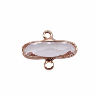Connettori oro ovali cristalli trasparenti 16x6 mm pacco 1 pezzo