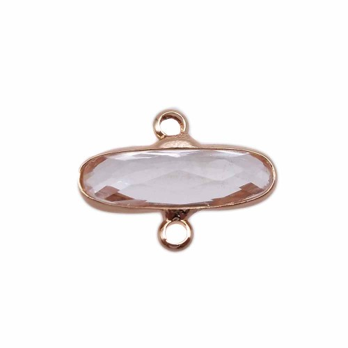 Connettori Con Cristalli | Connettori oro ovali cristalli trasparenti 16x6 mm pacco 1 pezzo - crcov1