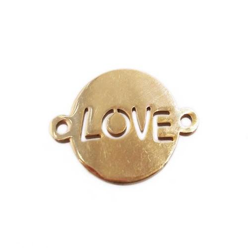 Connettori In Acciaio | Connettore tondo scritta love oro 12 mm pacco 1 pz - gt44xx1