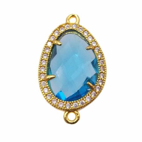 Connettori Con Cristalli | Connettore in ottone cristallo azzurro 28,5x16,4 mm pacco 1 pz - ww6