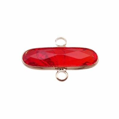Connettore ovale in ottone cristallo rosso scocca oro 22x7.4 mm 1 pezzo