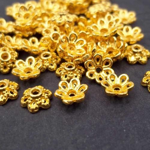 Coppette Copriperla | Coppette fiore oro 5.8 mm pacco 50 pezzi - cppo3