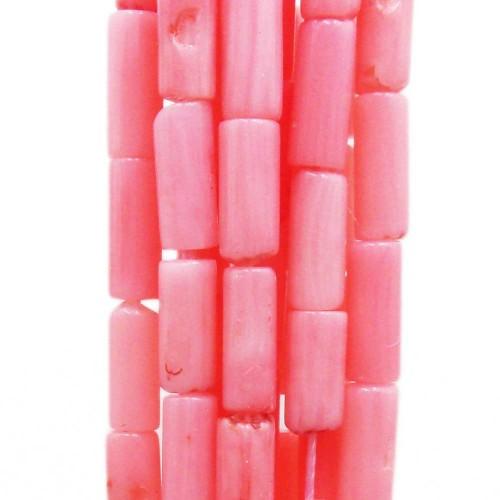 Corallo   Corallo bambù rosa colonna 8.6x2.8 mm filo 40 cm - bamb868