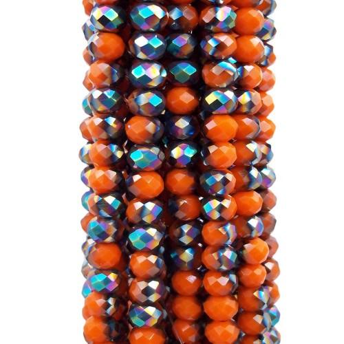 Cristalli Rondelle 6 mm   Cristalli rondella bicolore arancio e verde A/B 5.8x4.7 mm filo - axzq7