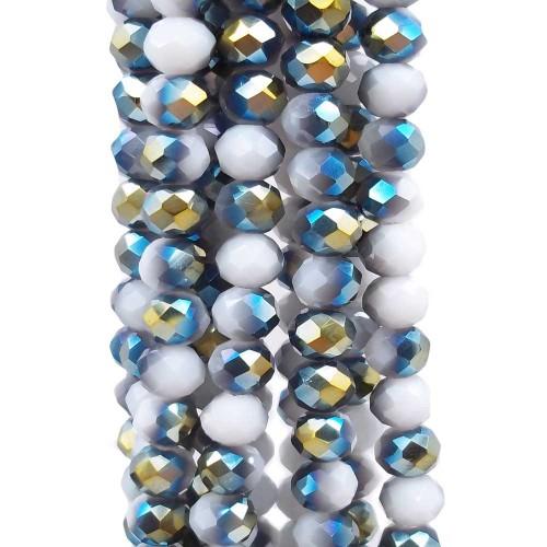 Cristalli Rondelle 6 mm | Cristalli rondella bicolore bianco e verde 5.9x4.9 mm filo - axzq6