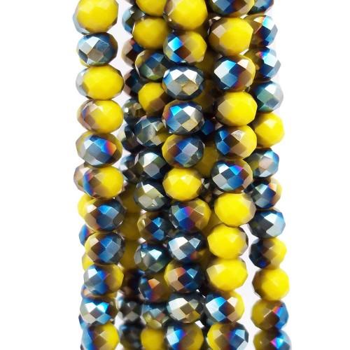 Cristalli Rondelle 6 mm | Cristalli rondella bicolore giallo e verde A/B 5.9x4.9 mm filo - axzq8
