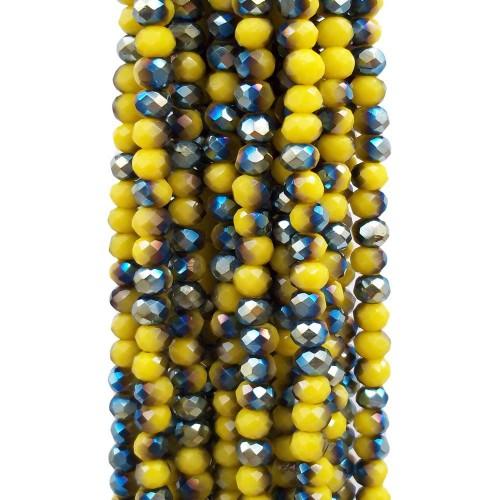 Cristalli Rondelle 4 mm | Cristalli rondella bicolore giallo verde  4.2x3.2 mm filo - axzq1
