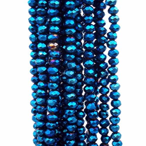 Cristalli Rondelle 4 mm | Cristalli rondella blu elettrico  4x3 mm filo 40 cm - aar4