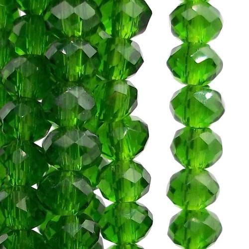 Cristalli Rondelle 4 mm | Cristalli rondella 4x3 mm dark green filo 49 cm circa - darkgreen