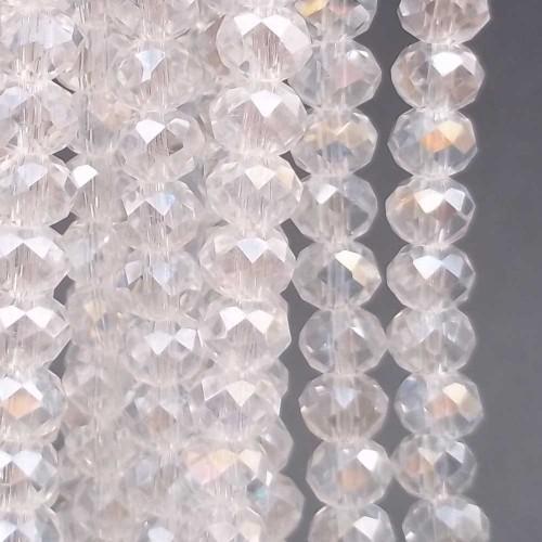 Cristalli Rondelle 6 mm | Cristalli rondella 6x5 mm trasparente filo 40 cm - tr5580vv