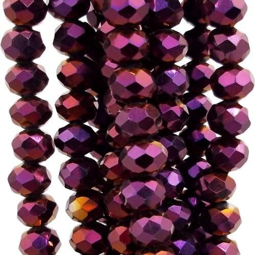 Cristalli Rondelle 6 mm | Cristalli rondella black violet 6x4 mm filo 45 cm - violet5
