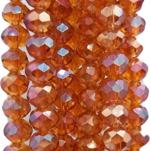 Cristalli Rondelle 6 mm | Cristalli rondella Brown orange a/b 6x4.7 mm filo 40 cm - brown88