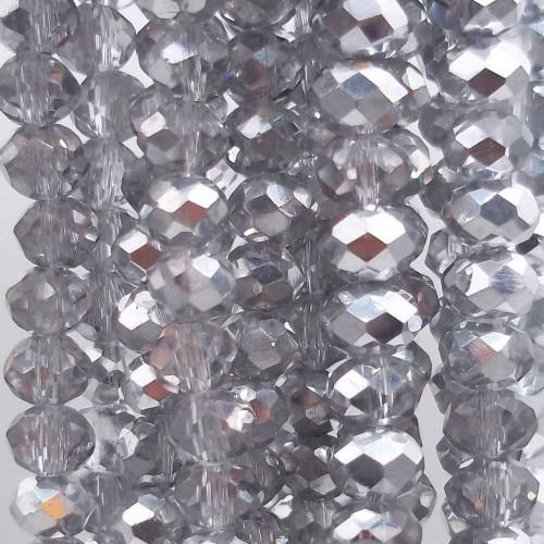 Cristalli Rondelle 4 mm   Cristalli rondella grey silver 4x3 mm filo 50 cm - grey4m