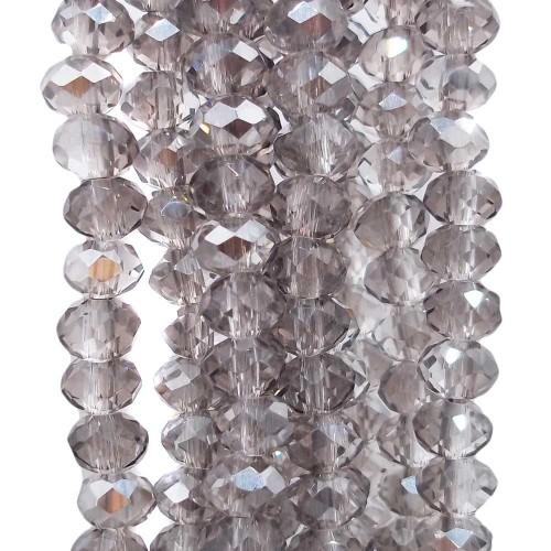 Cristalli Rondelle 6 mm | Cristalli rondella light Grey 6x4 mm filo 40 cm - greyy16