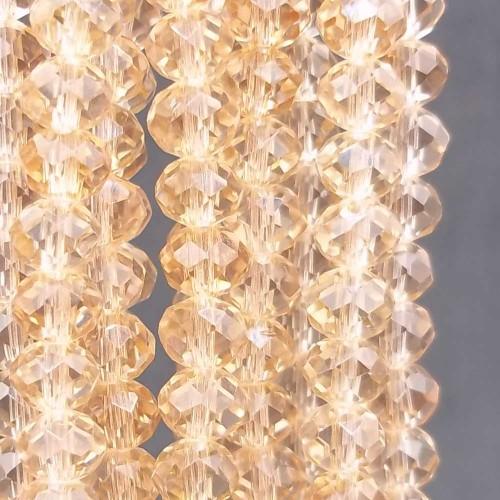 Cristalli Rondelle 6 mm   Cristalli rondella light peach sfacc. 6x5 mm filo 40 cm - peach781