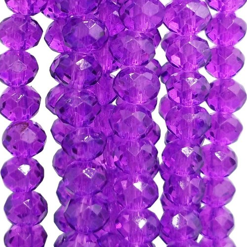Cristalli Rondelle 6 mm | Cristalli rondella magenta 5.4x4.5 mm filo 45 cm - magenta1