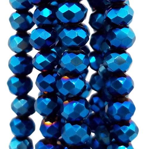 Cristalli Rondelle 4 mm | Cristalli rondella night blue 4x3 mm filo 40 cm - night552