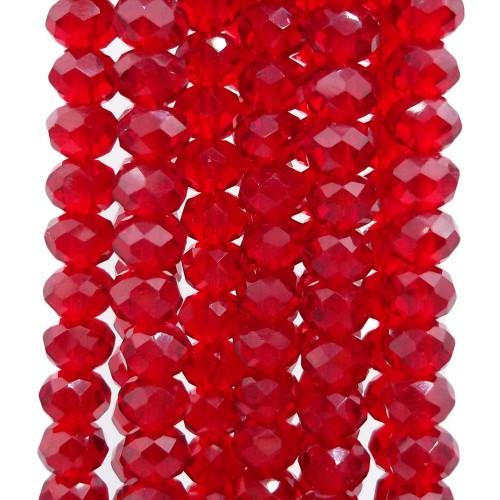 Cristalli Rondelle 6 mm   Cristalli rondella purple red 6x5 mm filo 40 cm - purple33