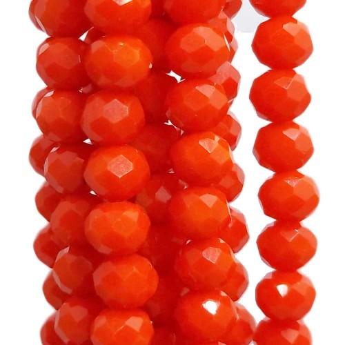 Cristalli Rondelle 6 mm | Cristalli rondella scarlet 5.7x4.7 mm filo 45 cm - scarlet