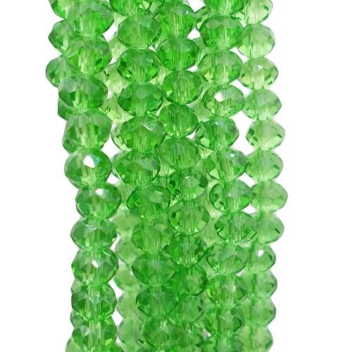 Cristalli Rondelle 6 mm | Cristalli rondella verdi sfacc. 6x5 mm filo 40 cm - ve55300a