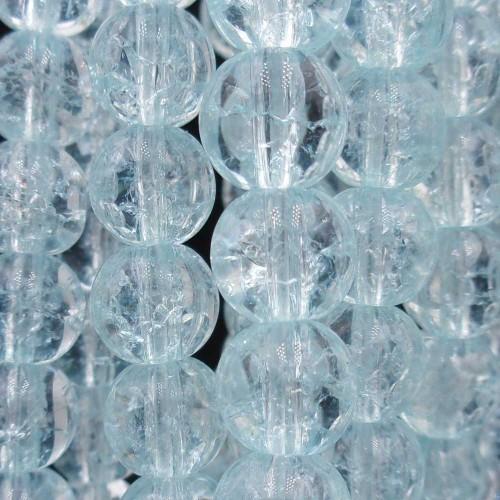 Cristallo di Rocca   Cristallo di rocca tondo liscio 8 mm azzurro filo 40 cm - rocc662