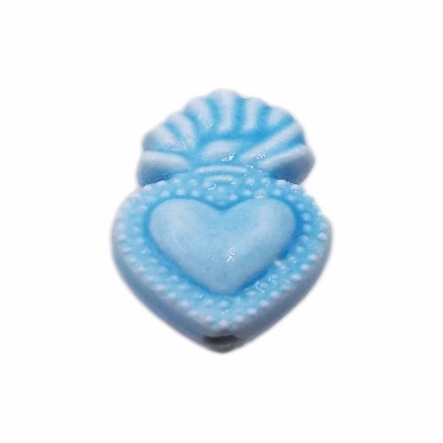 Cuori Sacri | Cuore sacro in ceramica 15.5x10 mm azzurro pacco 1 pezzo - cuor11z