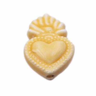 Cuore sacro in ceramica 15.5x10 mm giallo pacco 1 pezzo
