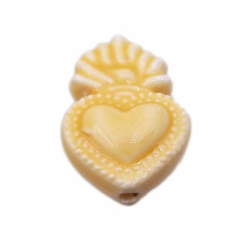 Cuori Sacri | Cuore sacro in ceramica 15.5x10 mm giallo pacco 1 pezzo - cuor11g